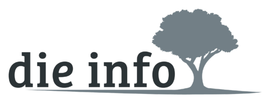 """Logo der """"info"""" besteht aus Schriftzug """"die info"""" und Baum"""